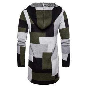 소매 카디건 후드 남성 스웨터 패션 대비 색상 남성 의류 격자 무늬 인쇄 남성 디자이너 스웨터 긴