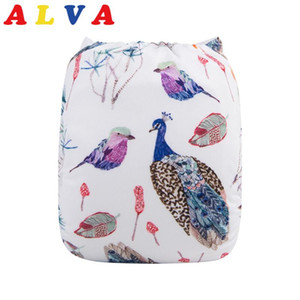 Alvababy Cloth Diaper New Digital Positioned Baby Diapers with Microfiber Insert