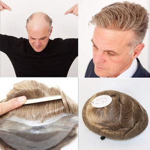 Dünne Haut Herren Toupee Voll Pu Toupee Für Männer Naural Schwarz Menschliches Haar Haarteil Ersatzsystem Männer Haar Keine Spitze