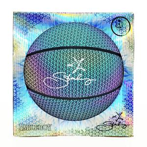 подпись Новой SmileBoy Марберите Dazzle Отражающего света размера баскетбола 7 Крытого Серебристой флуоресценция PU игровых баскетбольного мяча