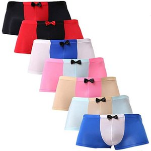 Mens Boxer Briefs Sexy Briefs Silk Unterwäsche glatt Trunk Bikini Male Fashion Unterwäsche Sexy Bow Recht B151