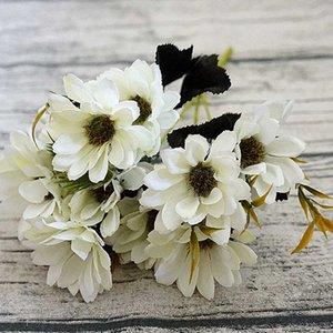 10heads / 1bundle Silk Daisy невесты Букет на Рождество Главная Свадьба Новый год украшения искусственные растения подсолнечника искусственные цветы