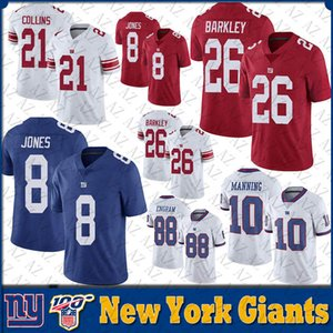 26 Saquon Barkley New jersey York Mens 8 Daniel Jones 10 Eli Manning 56 Lawrence Taylor géant Cousu NY Maillots de football
