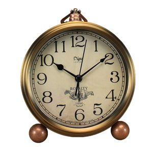 Golden Table Clock, Retro Vintage Non-Ticking Table Desk Alarm Clock a batteria al quarzo silenzioso Movimento HD per camera da letto