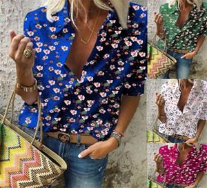 العنق النسائية قمصان الخريف الربيع كم طويل السيدات عارضة اللون الطبيعي أنثى قميص زهري مطبوعة V