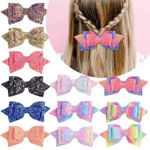 Ins rainbow glisten hair bows girls hair clips 4.9inch sequin girls barrettes baby BB clips designer hair accessories B1274