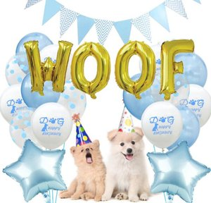 Feliz Cumpleaños Conjunto de Globos de Látex para Mascotas Cachorro Perro Decoración de Fiesta de Cumpleaños Garland Banner Letra Gusano