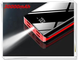 30000mAh 2A 4USB Mini Espejo de energía Banco pantalla LED de batería externa del cargador el Powerbank