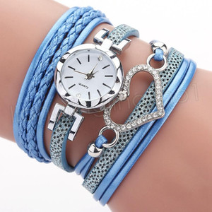 Women ladies Love Heart watch Crystal bracelet leather watches small dial dress quartz wrist watches gift pu leather watch FFA3791-1