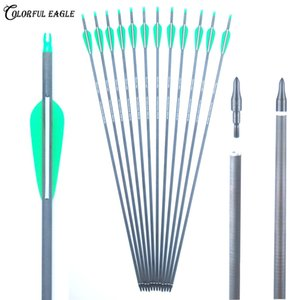 """Spine 300 400 Pure Carbon Arrows with 3'' green&white vanes 28"""" 30'' 31"""" replaceable arrowheads for Compound Recurve Bow Arrow Hunting"""