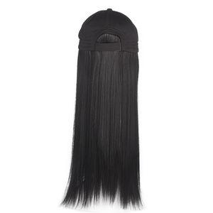 Hat Wig One-Piece Female Summer Baseball Cap Net Red Long Straight Hair European and American Fashion Cap Simulation Natural