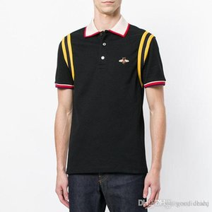 New arrive embroidery bee patch polo Cotton stripe t shirt for man Italy design brand contrast collar shirt men fashion ow poloshirt