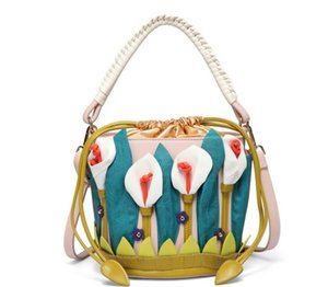 Women's Lily Fower Shoulder Bag Satchel Tote Bucket Purse Bag Handbags