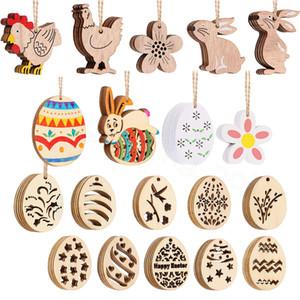Easter Wood DIY Pendant Kid Happy Easter Eggs DIY Graffiti Wooden Egg Xmas Tree Bell Sock Wood Graffiti Pendant Party Supplies favor FFA3633