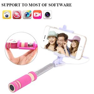 NEW Mini Foldable Self Stick Tripod Monopod Wired Selfie Stick Cable Extendable Built-in Shutter Stick For iPhone Smartphones