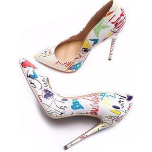 Women Heels Graffiti Colorful Women Pumps Fashion Sexy High Heels Pointed Toe Party Wedding Shoes Stiletto Plus Size 35-42