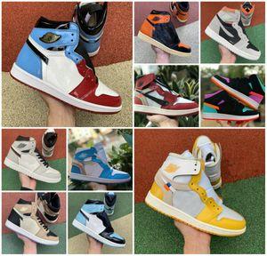 2020 Nova Travis Scotts X 1 High OG Mid Shoes Designer quebrado encosto 3.0 Real proibiu Bred Black White 1s Fragmento UNC Destemido Sneaker