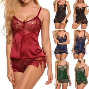 2pcs сексуальные женщины дамы атласные кружева белье Эротическое Nightdress пижама Set Женский Глубокий V шеи Узелок Лето Ночное