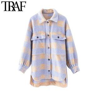 TRAF manera de las mujeres de gran tamaño Overshirts lana cuadros capa de la chaqueta de la vendimia de vestir exteriores elegante bolsillo asimétrico Superior Femenina