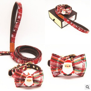 Christmas Dog Collar Leashes Pet Bowknot Collars Fashion Leather Santa Claus Bow Ornament Puppy Teddy Collar