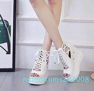 Platform Peep Toe Moda Donna Scarpe Pantofole alte zeppe Casual Scarpe peep toe in pelle Estate gladiatore sandali R08