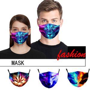 3D Animales mascarilla del diseñador con la cara de algodón reutilizable filtro de máscaras Máscaras de verano fuera de la puerta practicar deporte Moda Máscara de diseño para adultos