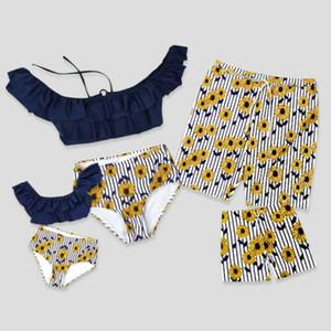 Matching família Swimsuit mãe de pai das meninas dos meninos Men Flower Swimwear Bikini Set
