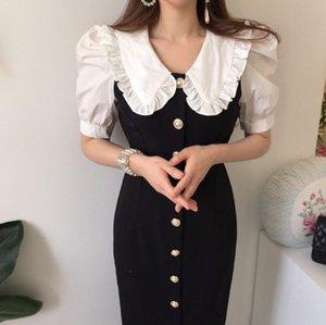 2020 New summer Korea Chic peter pan Collar single-breasted Button High Waist short Puff Sleeve Midi Dress Women