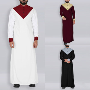Kaftan Männer Muslim Kleidung Jubba Thobe Abaya Robe Dubai Saudi-Arabien Kleid islamische traditionelle Ramadan Langarm-T-Shirt
