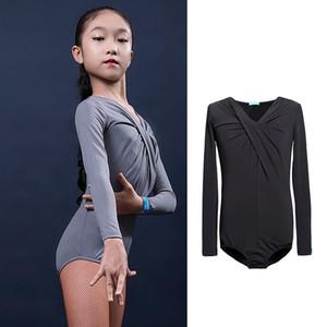 Длинные рукава Latin Bodysuit Лучшие Бальные балета Практика Wear Современный танец Девочка Дети Kid рубашка Salsa Tango Самба Ча