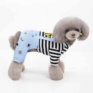 ملابس الكلاب الأليفة ملابس فتى جيد فتاة القفز المخططة كلب صغير Rompers الجرو Overalls صيف الحيوانات الأليفة
