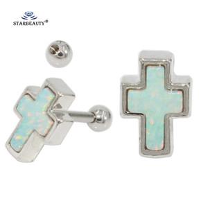 Comercio al por mayor 2 unids / lote White Opal Gem Cross Tragus Piercing Orelha Cartilagem 16G Stud Pendientes Helix Piercing Del Oído Joyas Corporales