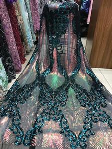 2019 de alta qualidade Africano Lace Tecido Teal Verde Velvet Francês Net bordar lantejoulas Tulle Lace Tecido Para a festa nigeriana Vestido