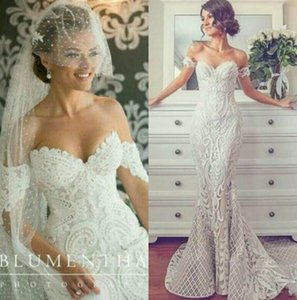 New Vintage Lace Mermaid Wedding Dresses Off Shoulder Crystal Beads Bridal Gowns Appliques Trumpet Vestidos Plus Size Beach Wedding Dress