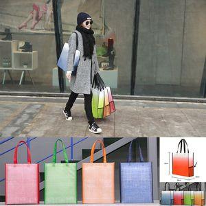 Gradient Colore Shopping Bags sacchetto non tessuto pieghevole Environmental Protection Bag Home Storage Bag può essere personalizzata LogoXD23461