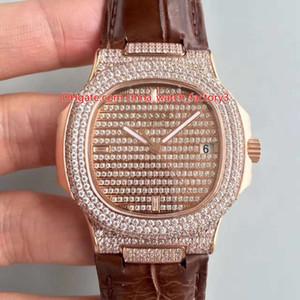 3 Color de la mejor calidad 40.5mm Nautilus 5719 / 1G-001 de diamante completo del bisel de piel Top CAL.9015 324 S C Relojes para hombre del reloj de movimiento automático