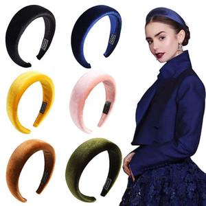 Mujer esponja headhand niñas Candy Color Velvet Hair Hoop Stretchy Thick Headpiece Hair band Girls Boutique accesorios para el cabello 11 colores