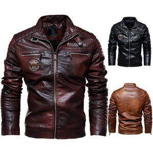 New men's leather jacket men's PU leather coat European and American Motorcycle wear modern Hardman plush coat