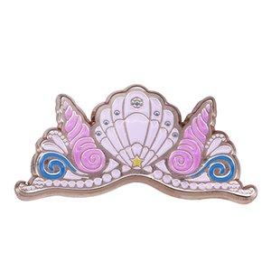 Mermaid taç emaye pin pastel kabuk broş kızlar için güzel hediye unicorn parti favor