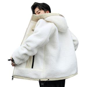 Lamb Samtjacke Männer Kontrast-Farben-Mosaik Hooded Zipper-Taschen-Slip-Schnalle Mode Pullover Langarm