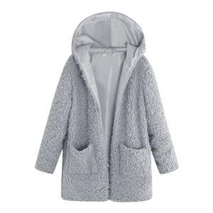 Chaqueta Fuzzy moda mujer abrigo con capucha suelta suéter abrigo invierno mujeres cálido chaqueta de lana artificial prendas de vestir exteriores bolsillos abrigos # 703