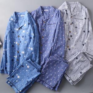 Männer Woven Cotton Pyjamas Big Size Herren Sexy Pyjamas Nachtwäsche Umlegekragen Pyjama Sets Mansleepwear Startseite Pajama Drucken