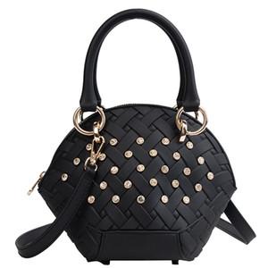 Großhandel Designer Tasche Riemen Umhängetaschen Shell Tasche Woven Crochet Strass verzieren Zipper-Taschen-Beutel-freies Verschiffen Ausgezeichnete Qualität