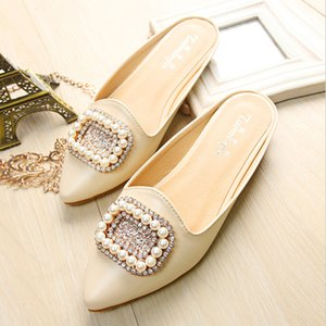 33-43 women shoes soft maternity sandals fashion pearl rhinestone women's shoes plus size women's baotou slippers