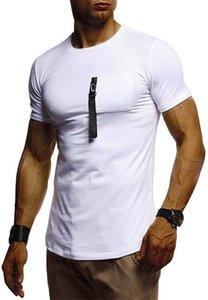 Erkek Yaz Desinger Tshirts Mürettebat Yaka Kısa Kollu Katı Renk Moda Günlük Erkek Giyim
