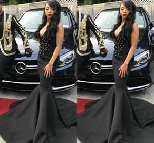 Black Girls Beads Mermaid Prom Vestidos de noche Deep V NeckLace Pearls Sweep Train Vestidos formales Vestidos de noche Ocasión especial