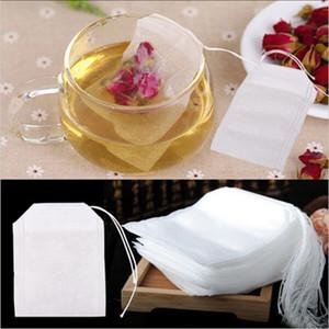 100 pçs / set saquinhos de chá 5.5 * 7 CM vazio Scented sacos de chá com corda erva solto chá cura Seal filtro leve cozinha Spice Bag BH2106 TQQ