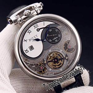 Bovet 1822 Tourbillon Amadeo Fleurie Automatische Skeleton Herren-Uhr-Stahl-Gehäuse weißes Zifferblatt römische Markierungs-Schwarz-Leder-Timezonewatch E08a1