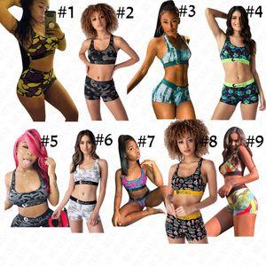 9 Colors Women Designer Swimsuit 2 Piece Branded Swimwear Fashion Printing Sports Bra+ Shorts Bikini Set Beachwear Swim Bath Suit 2020D61513