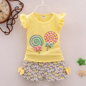Baby Girls Clothes Sets Lollipop Printed Kids Tops цветочные шорты 2 шт. наборы сладких нарядов для девочек мода Детская одежда 7 цветов 100lots YW2448